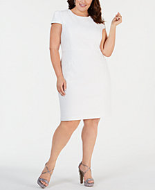 Betsey Johnson Plus Size Cap-Sleeve Jacquard Sheath Dress