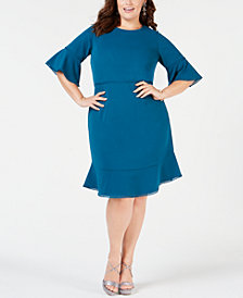 Betsey Johnson Plus Size Bell-Sleeve Dress