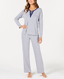 Alfani Printed Lace-Up Pajama Set, Created for Macy's