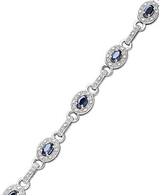 Sterling Silver Bracelet, Sapphire (2-5/8 ct. t.w.) and Diamond (1/4 ct. t.w.) Oval Link Bracelet