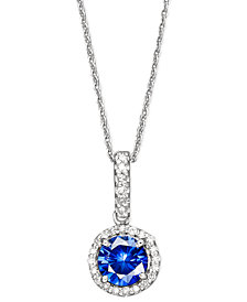 Velvet Bleu by EFFY Diffused Sapphire (1 ct. t.w.) and Diamond (1/10 ct. t.w.) Pendant Necklace in 14k White Gold, Created for Macy's