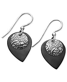 Jody Coyote Patina Bronze Earrings, Black Teardrop Earrings