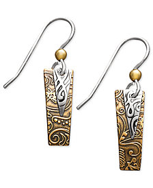 Jody Coyote Bronze and Silver-Plated Earrings, Rectangle Drop Earrings