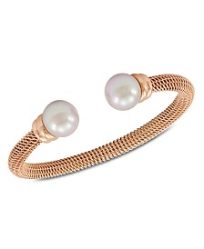 Majorica Bracelet, Organic Man Made Pearl and Rose Gold-Tone Stainless Steel Bangle Bracelet
