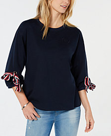 Tommy Hilfiger Tie-Sleeve Logo Sweatshirt, Created For Macy's