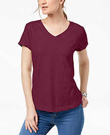 Style & Co Petite V-Neck Pocket T-Shirt, Created for Macy's
