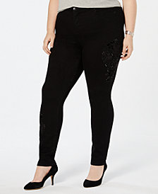 Style & Co Plus Size Cotton Embroidered Curvy Fit Skinny Jeans, Created for Macy's