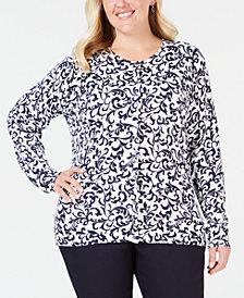 Karen Scott Plus Size Printed Cardigan, Created for Macy's