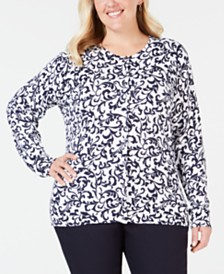 Karen Scott Plus Size Printed Cardigan, Created for Macy's