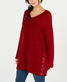 Style & Co Petite Chenille Grommet Lace-Up Sweater, Created for Macy's