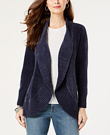Style & Co Petite Chenille Cutaway Cardigan Sweater, Created for Macy's