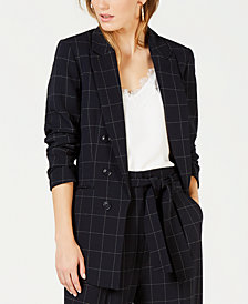 Bar III Faux-Double-Breasted Windowpane-Print Jacket, Created for Macy's