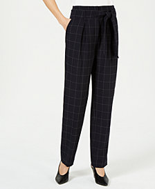 Bar III Belted Windowpane-Print Pants, Created for Macy's