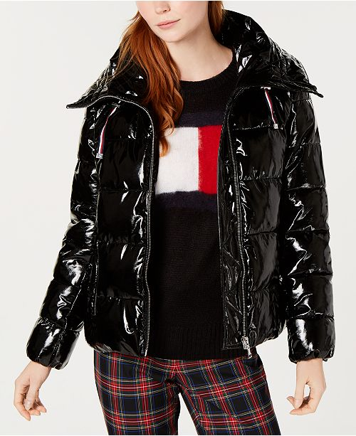 06f0033a Tommy Hilfiger Shiny Puffer Coat, Created for Macy's & Reviews ...