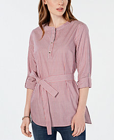 Tommy Hilfiger Striped Roll-Tab Tunic Top, Created for Macy's