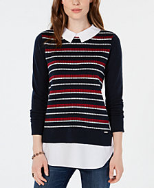 Tommy Hilfiger Layered-Look Sweater Top, Created for Macy's