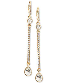 DKNY Gold-Tone Crystal Linear Drop Earrings
