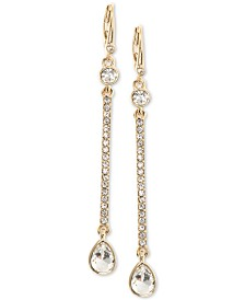 DKNY Gold-Tone Crystal Linear Drop Earrings, Created for Macy's