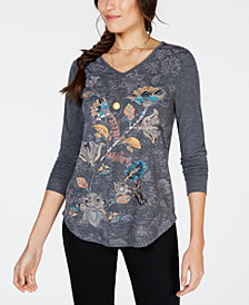 Style & Co Embellished Graphic High-Low Top, Created for Macy's