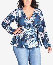 City Chic Trendy Plus Size Floral-Print Wrap Top