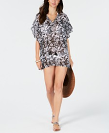 Miken Lace-Up Chiffon Caftan Cover-Up