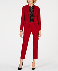 Anne Klein One-Button Blazer, Dot-Print Blouse & Slim Pants