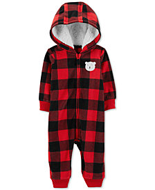 Carter's Baby Boys 1-Pc. Hooded Buffalo Check Jumpsuit