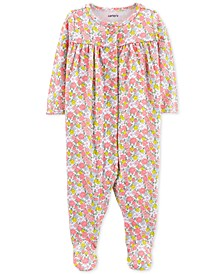 Baby Girls Floral-Print Cotton Coverall