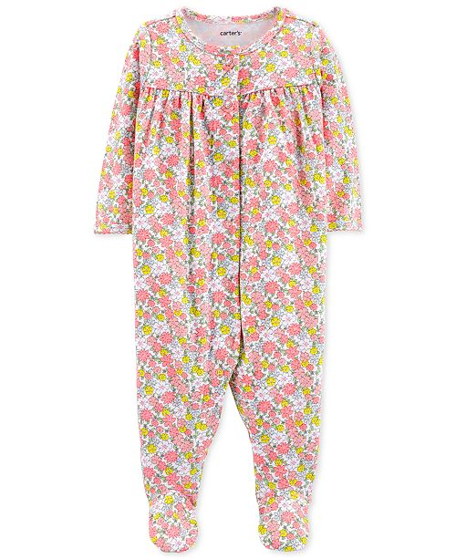 Carter's Baby Girls Floral-Print Cotton Coverall