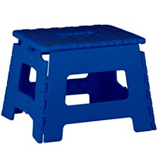 Home Basics Small Plastic Folding Stool with Non-Slip Dots