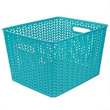 Home Basics X-Large Chevron Plastic Storage Basket