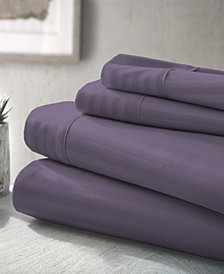 Home Collection Premium Striped Embossed 4 Piece Bed Sheet Set, Full