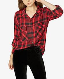 Sanctuary Plaid Boyfriend Button-Up Shirt, Created for Macy's