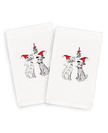 Linum Home Christmas Cute Couple 100% Turkish Cotton 2-Pc. Hand Towel Set