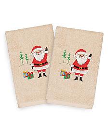 Linum Home Christmas Santa Waving 100% Turkish Cotton 2-Pc. Hand Towel Set