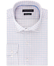Tommy Hilfiger Men's B&T Classic/Regular Fit TH Flex Stretch Non-Iron Blue Check Dress Shirt