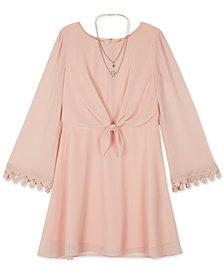 BCX Big Girls Chiffon Tie-Front Dress & Necklace