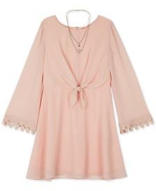 BCX Big Girls Chiffon Tie-Front Dress & Necklace
