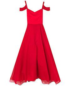 Rare Editions Big Girls Embellished Cold Shoulder Maxi Dress