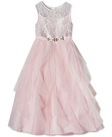 Rare Editions Little Girls Lace Cascading Ruffle Maxi Dress