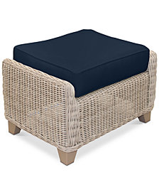 Willough Wicker Outdoor Ottoman: with Custom Sunbrella® Colors, Created for Macy's
