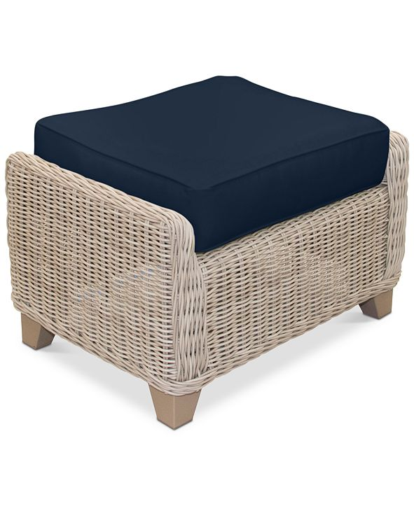 Furniture Willough Wicker Outdoor Ottoman: with Custom Sunbrella® Colors, Created for Macy's
