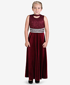Speechless Big Girls Glitter Lace Velvet Dress