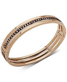 DKNY Two-Tone Crystal Triple-Row Bangle Bracelet