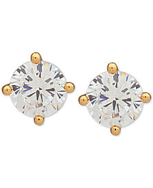 DKNY Gold-Tone Crystal Stud Earrings