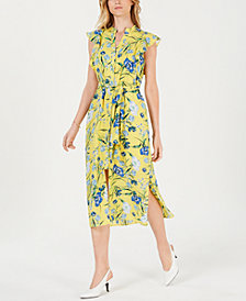 Maison Jules Printed Flutter-Sleeve Midi Dress, Created for Macy's