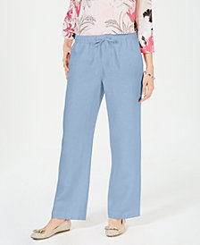 Charter Club Linen Petite Drawstring Pants, Created for Macy's