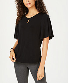 Charter Club Keyhole Flutter-Sleeve Top, Created for Macy's