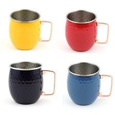 Fiesta 18-Ounce Hammered Moscow Mule Mugs, Set of 4 - Scarlet, Daffodil, Lapis and Cobalt