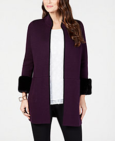 Alfani Petite Faux-Fur-Cuff Cardigan, Created for Macy's